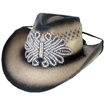 Crystal Embellished Straw Cowboy Hat