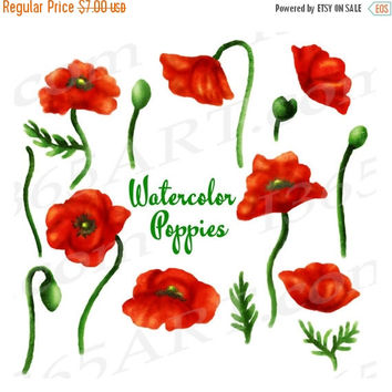 50% OFF SALE Poppy Clipart, Watercolor Poppies Clip Art, Watercolor Flowers, Elements, Hand Painted Poppy Paintings, Floral Art, Red Poppies
