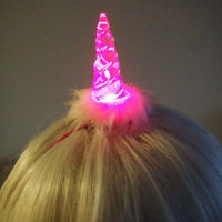 Light Up LED Crystal Unicorn Horn  - Hot Pink and White