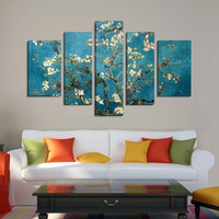 CANVAS ART - Van Gogh Cherry Blossom Painting Canvas Print Ready to Hang  5 Panels - Best Quality Print for Great Home Decorations -