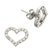 Gemmed Hollow Heart Stud Earrings