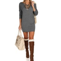 Sale-gray Cozy Sweater Tunic