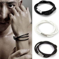 Men Bracelet Leather Breif Handmade Loom Bands Charm Bracelet Braccialetto Uomo#A11