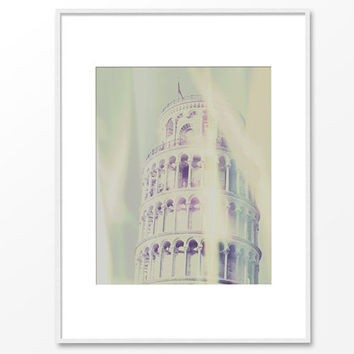 Leaning Tower of Pisa, Italy.Campanile of Pisa.Semi abstract.Fine art print.Beige green pale.Digital mixed media.Photo wall art print.