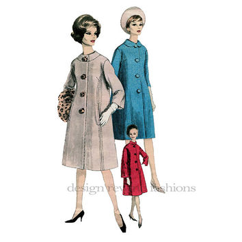 1960s A-Line Coat Peter Pan High Round Collar Long or Elbow Length Sleeves & Scarf Bust 31 Vogue 5630 Special Design Vintage Sewing Patterns