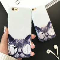A cat with glasses Cover Case for iPhone 5s 5se 6 6s Plus + Gift Box 345