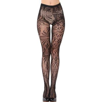 Black Arabesque Jacquard Seamless Tights