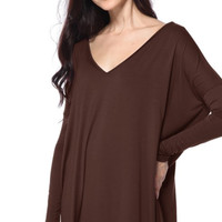 "PIKO ""Everything"" V-Neck Long Sleeve Tunic - Dark Brown"