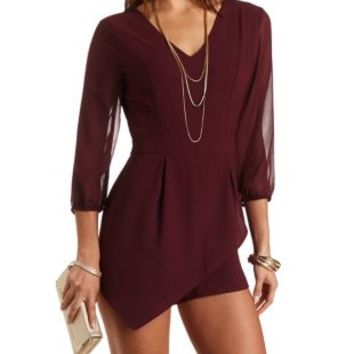 Sheer Sleeve Asymmetrical Romper by Charlotte Russe - Oxblood