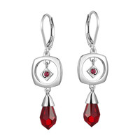 Women's Sterling Silver CZ Lever Back Earrings, STARPOINT Collection