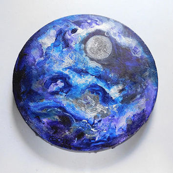 Full Moon - Cosmic painting, circular canvas, 20cm diameter