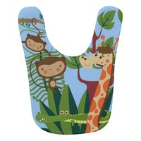 Monkeys, Crocodile, and Giraffe in the Jungle Bib