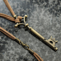 Attack on Titan necklace - Eren Yeager's bronze tone metal basement key on a double leather cord