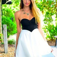 Black & White Strapless Sweetheart Dress with Cutout Detail