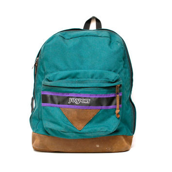 vintage 90s JANSPORT turquoise canvas PURPLE stripe triangle BACKPACK unisex 72b355d13a812
