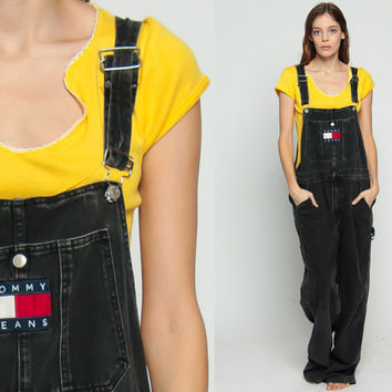 Tommy Hilfiger Overalls Pants Black Overalls 90s Denim GRUNGE Pants Baggy Long Jean Pants 1990s Hipster Vintage Jumpsuit Medium