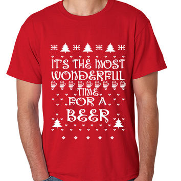 Men's T Shirt It's Most Wonderful Time for Beer Ugly Sweater Xmas