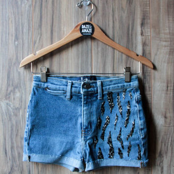 Beaded Denim Shorts, Vintage Distressed High Waist Cut Off
