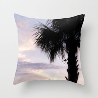 Sunset Pillow Cover, Pink Purple Black, Tropical Decor, Bird in Palm Tree