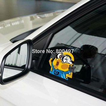 Newest Minions Despicable Me Jerry Hitting the Glass Car Stickers Car Decals for Toyota  Chevrolet Volkswagen Tesla  Kia Lada