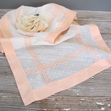 vintage pink table runner dotted swiss floral by KatyBitsandPieces