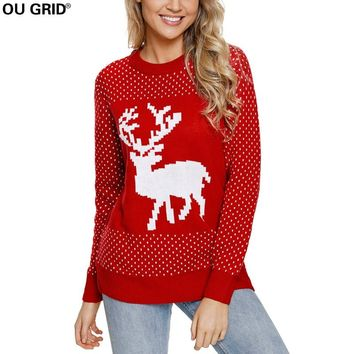 Women's Reindeer Knitted Crewneck Ugly Christmas Sweater Girl Pullover