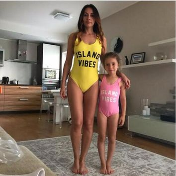 Island Vibes - Family Matching Mother Daughter Swimwear - One Piece Swimsuit
