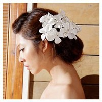 Gorgeous Flower Patterns Off-White Satin Beaded Head Flower For Bride China Wholesale - Sammydress.com
