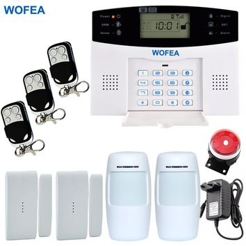 WOFEA Russian English Spanish France voice  Smart Home Security GSM Alarm System Remote Control by SMS & Calling with LCD keypad
