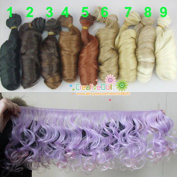 Free shipping SD Doll Wigs/hair diy High-temperature Wire Curly wave natural color bjd