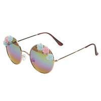 Flower Detail Round Sunglasses | Wet Seal