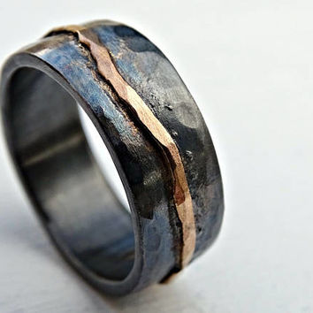 gold wedding band black silver, man wedding band, organic wave ring gold, viking wedding ring forged, celtic promise band, cool mens ring