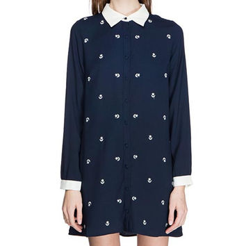 Midnight Sky Shift Collar Dress