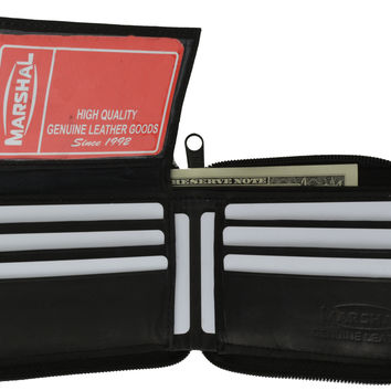 Genuine Leather Men's Zipper Zip-Around Organizer Bifold Wallet 1256 CF