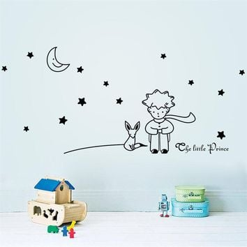 The Little Prince Fox Star Moon Wall Sticker Kids Baby Nursery Room Decor Child Gift Vinyl Decal 8518. Decoration Mural Art