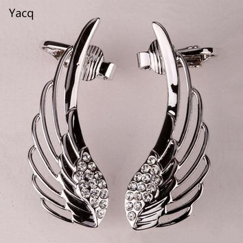 YACQ Angel Wings Ear Wrap Clip Cuff Earrings Australian Crystal Women Biker Jewelry Gifts Gold Silver Color Dropshipping SC08