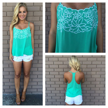 Flirty Floral Embroidered Top - MINT