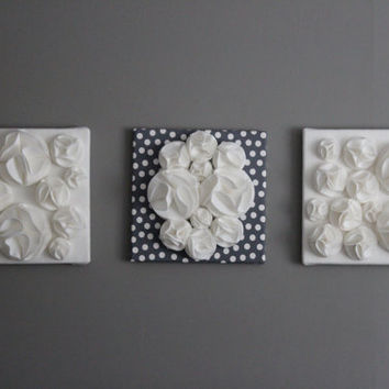 "Three Wall Art Canvases, Gray and White Felt 3D 12x12"" Wall Hangings, Wall Decor, Nursery Art, Gray and White Nursery, Gray Baby Room Art"