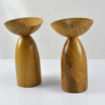 Dansk Candlestick Candle Holders Turned Teak Wood Mid Century Modern Design Vintage MCM Denmark Danish Decor Brass Spikes