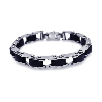 Stainless Steel Black Rubber Bike Chain Bracelet