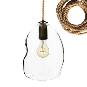 Clear Bubble Hand Blown Glass Pendant Light- Ship Rope