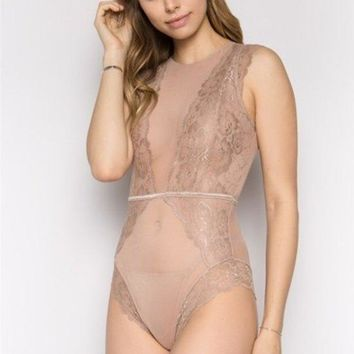 Women's Lace and Mesh Bodysuit