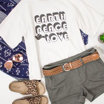 Earth Peace Love Graphic Tee