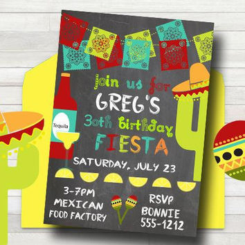 Fiesta Birthday Party Invitation - Mexican Invitation - Fiesta Party Invitation - PRINTABLE - 21st Birthday Invitation - Adult Birthday