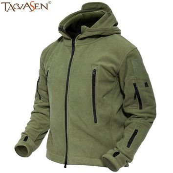 TACVASEN Men's Fleece Jacket Thermal Winter Tatical Jacket Hooded Sport Coat Fishing Clothes Outerwear Military Jackets