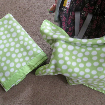 Baby Blankets Setof 2, One for Bed and One for Car Seat or Travel, Baby Shower Gift, Made To Order in your choice of colors