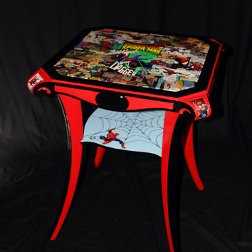 SPIDERMAN TABLE - Vintage Comic Books / Antique Mahogany Table- -Fusion Art Furniture - Awesome and Unique signed ART