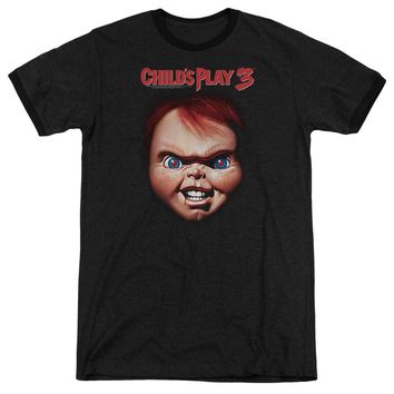 Childs Play Ringer T-Shirt Chucky Close Up Black Tee