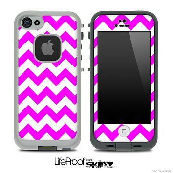 Hot Pink and White V2 Chevron Pattern Skin for the iPhone 5 or 4/4s LifeProof Case