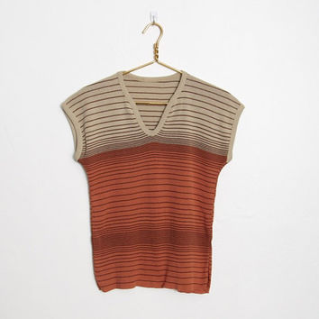 Vintage 1970s Boho Sweater / Tan, Orange and Brown Striped Knit Pullover